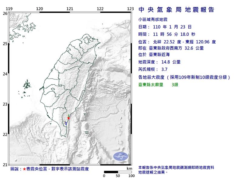 台東縣近海今日中午11時56分許發生芮氏規模3.7地震,全台最大震度為3級。(擷取自中央氣象局)