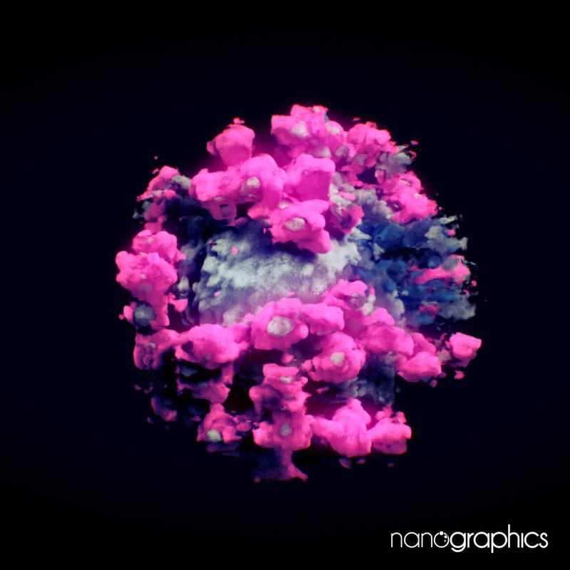 武漢肺炎病原體新型冠狀病毒的完整3D影像近日首度曝光。(圖擷自nanographics.at)