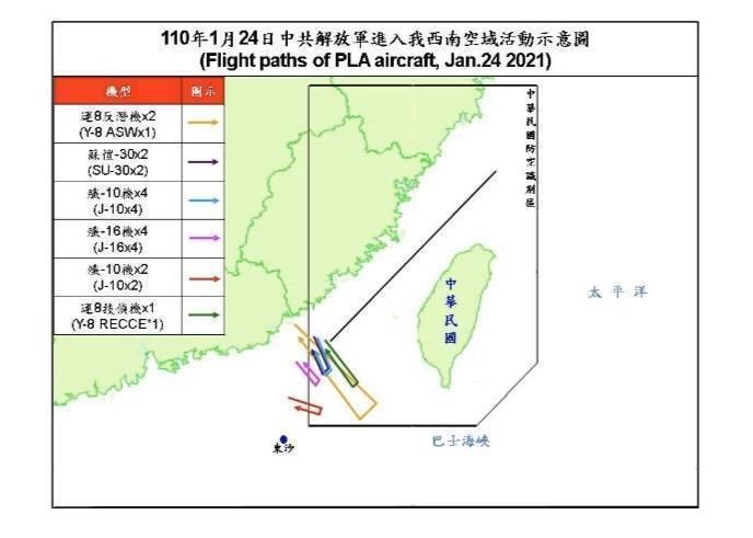 中共今天有15架軍機擾我西南空域,其中,戰機多達12架次。(國防部提供)