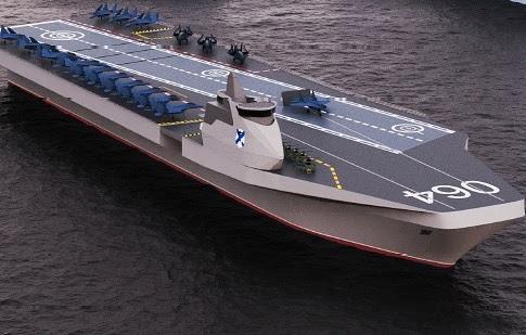 俄羅斯宣布新的航空母艦「法蘭號」設計概念,有可能取代正在維修中的「庫茲涅佐夫號」。(圖擷自charly0153推特)