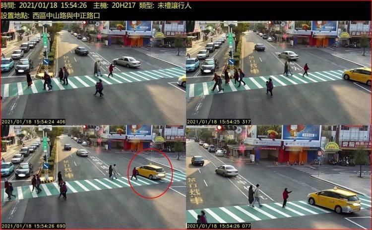嘉義市警方在中山路與林森西路、中山路與中正路,建置多元違規取締。(嘉義市警局提供)
