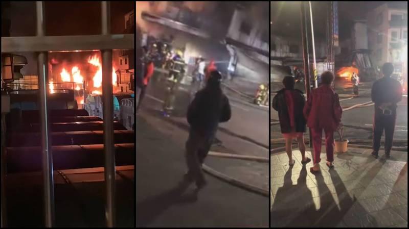 位於台南市永康區的一處鐵皮廠房今凌晨驚傳火警,大批消防人員協助搶救,有網友深夜被爆炸聲驚醒,並聲稱「爆炸1、20聲有了」。(圖擷自「台南爆料公社-台南最大社團」,本報合成)