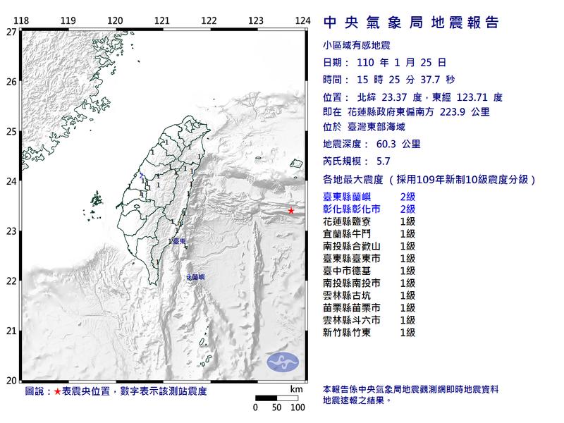 花蓮縣外海今(25)日下午3點25分發生芮氏規模5.7地震,台東縣最大震度2級。(圖擷取自中央氣象局)