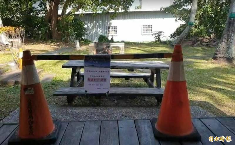 都蘭派出所露營區封閉,不開放遊客露營。(記者黃明堂攝)