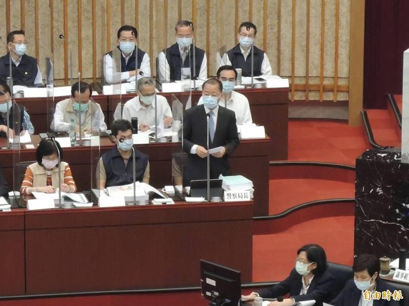 新任高市警察局長黃明昭首次列席高市議會。(記者王榮祥攝)