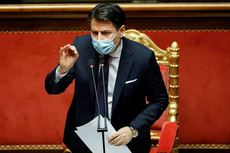 Italian Prime Minister Conte (pictured) has today asked for his resignation, intending to reorganize the ruling coalition and obtain an absolute majority in Congress.  (Reuters)