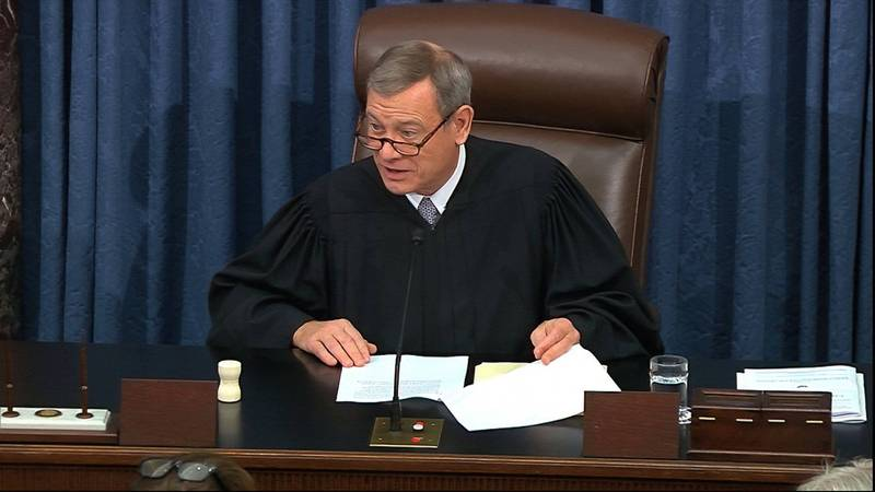 Chief Justice Roberts of the United States Supreme Court (pictured) is reluctant to preside over Trump's impeachment trial in the Senate.  (Associated Press)