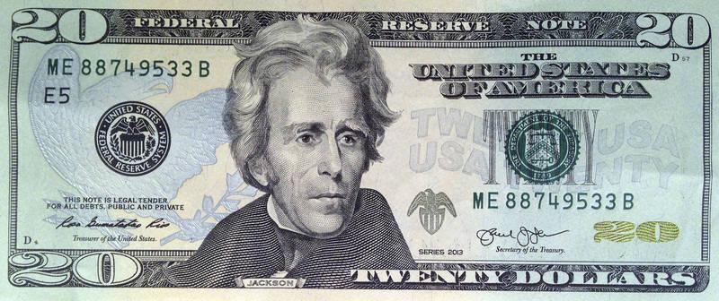 現行20元美鈔為美國第7任總統、獨立戰爭英雄安德魯·傑克森。(美聯社)