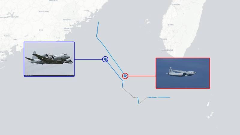 「飛機守望」推特今天指出,上午1架美國海軍EP-3E白羊偵察機與1架中共運-8G「高新三號」遠程電子干擾機同時現蹤台灣西南空域。(圖擷取自推特_@AircraftSpots)