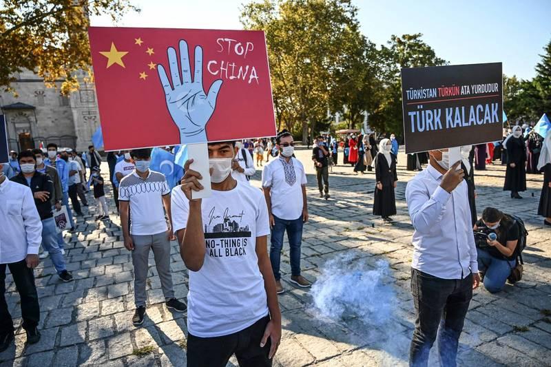 美國認定中國壓迫新疆少數民族違反國際法中「種族滅絕」。(法新社資料照)