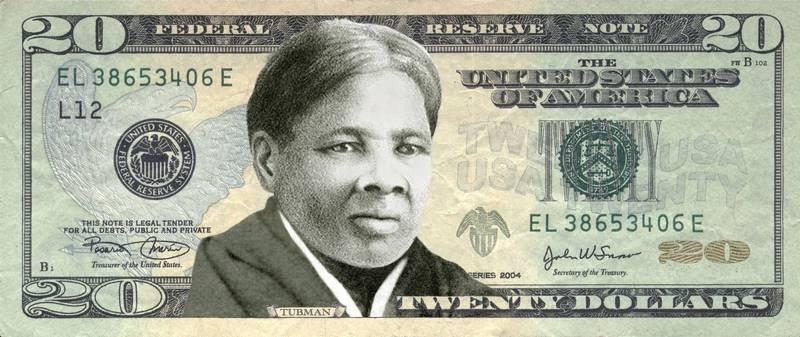 拜登政府上任後,決定加速推動新美鈔,將廢奴運動先鋒塔布曼成為首位登上美鈔正面的非裔美國女性。圖為新20美元設計想像圖。(法新社)