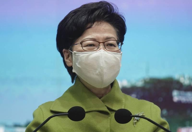 香港特首林鄭月娥26日暗示,不贊成香港特首由協商產生。(美聯社)