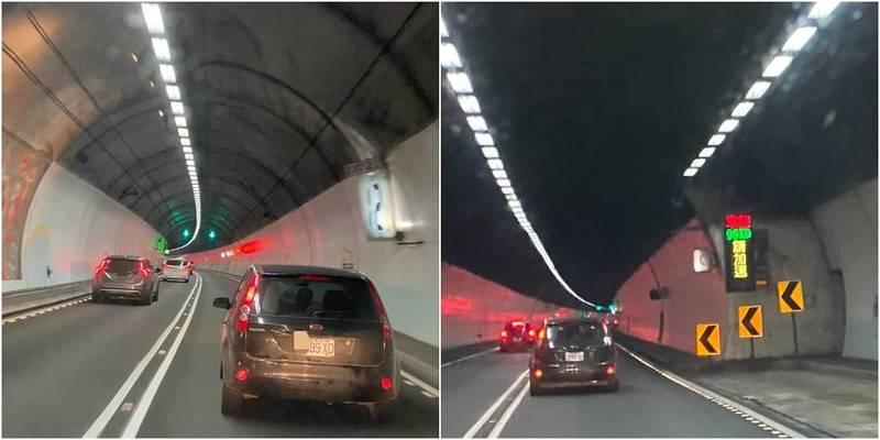 1台黑色休旅在雪隧內充當「大隊長」,被行控中心使用避車彎指示牌特別點名「99XD請加速」。(圖取自爆怨公社)