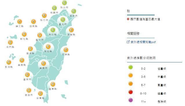紫外線方面,明天基隆、大台北及新竹為「低量級」,其餘地區為「中量級」。。(圖擷取自中央氣象局)