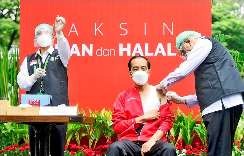 印尼總統科佐威廿七日當眾施打武漢肺炎疫苗第二劑。(路透)