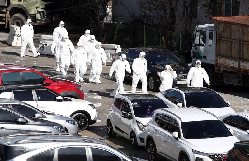 南韓境內武漢肺炎(新型冠狀病毒病,COVID-19)新增確診497例。示意圖。(歐新社)