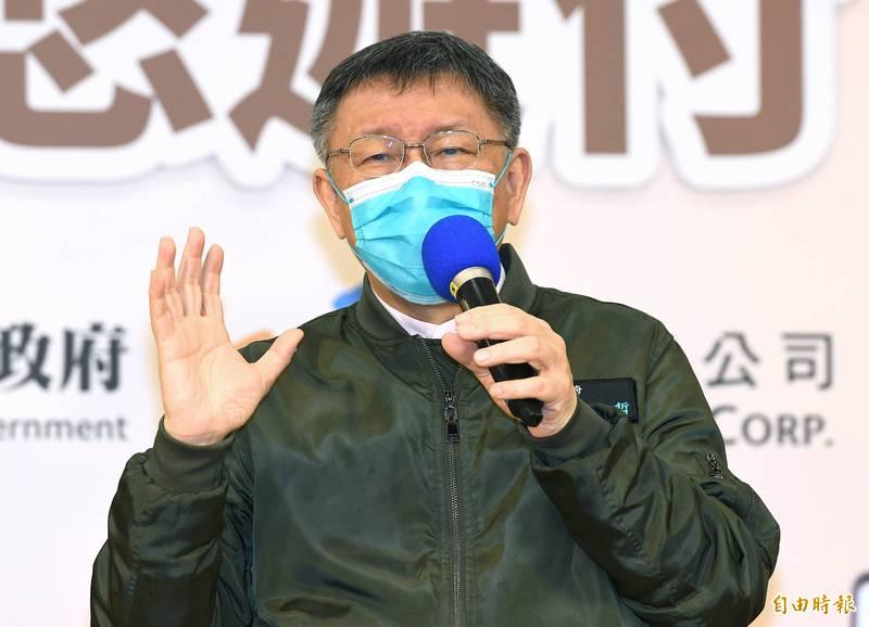 台北市長柯文哲今出席「臺北犇紅包 好神悠遊付」記者會,會後受訪。(記者廖振輝攝)