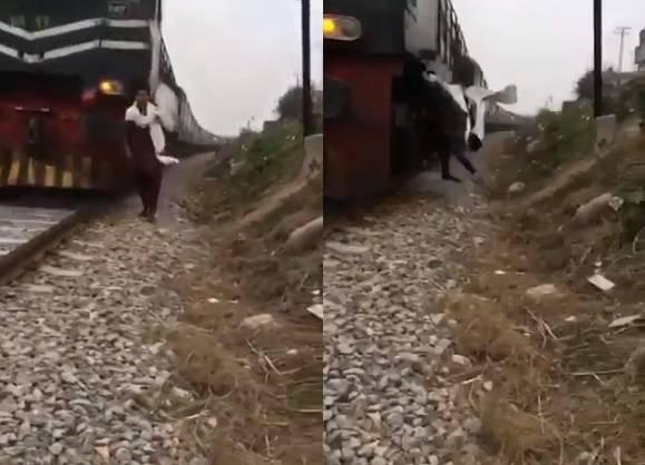 男子拍抖音影片慘遭火車撞死。(圖翻攝自<a href=