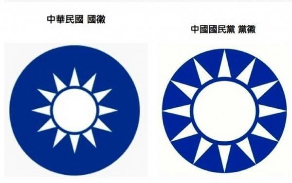 國民黨黨徽及國徽差別在於國徽中的「白日」形狀較小,而國民黨黨徽的青天白日是與邊緣相連的。(圖擷取自國民黨駐美國總支部網站)