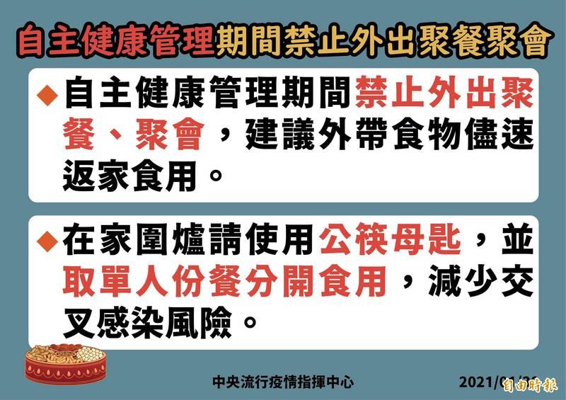 指揮中心提醒,自主間康管理期間禁止外出聚餐、聚會。(指揮中心提供)