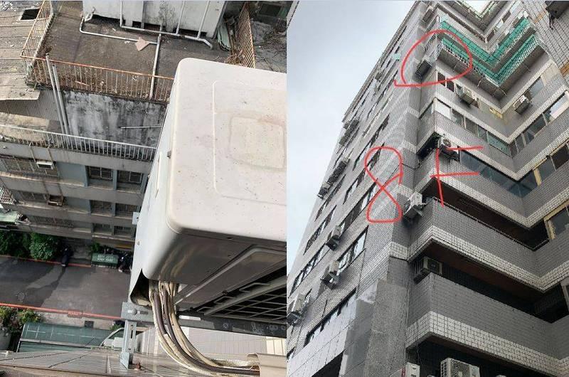 一名工人爬到8樓牆外修窗相當危險,他因此向業主要求加價500元,未料卻被對方嫌貴,8樓外牆的照片曝光後讓許多網友嚇壞,直呼「5萬我都不做」。(圖擷取自臉書「爆怨公社」)