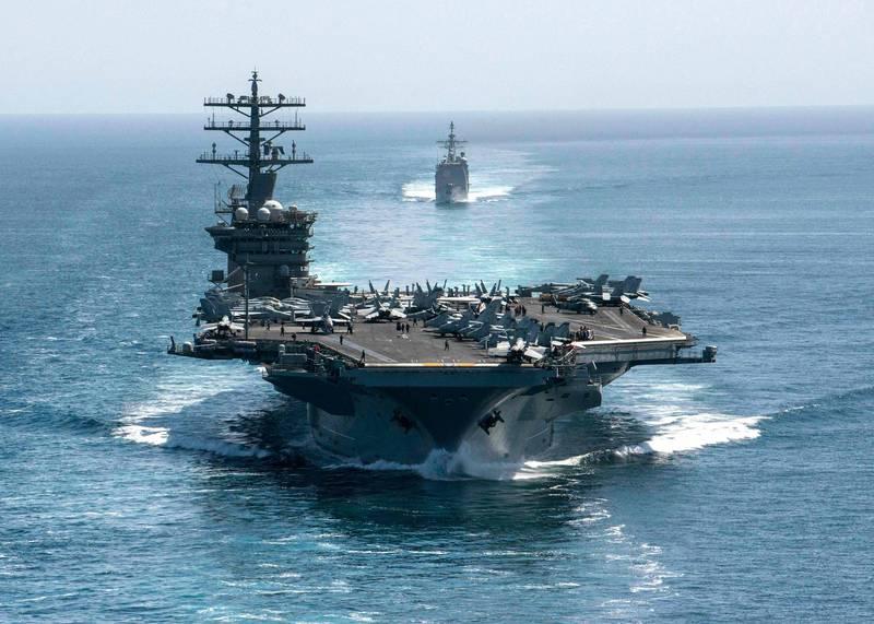 美國專家認為,與其樹立美國在東亞的絕對優勢,不如阻止中國得到東亞地區的主導權。圖為美軍尼米茲號航空母艦。(法新社)