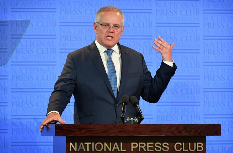 澳洲總理莫里森(Scott Morrison)預計今天發表演說,並表示疫苗接種計畫將耗資至少63億澳元。(彭博)