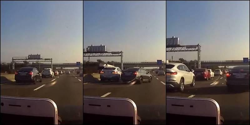 1名男子載著妻子碰到1輛Nissan追撞BMW,從2輛車中間「神技穿越」。(圖取自爆廢公社)