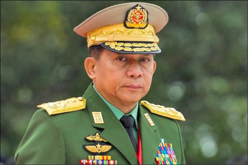 緬甸武裝部隊總司令敏昂萊發動政變。(法新社檔案照)