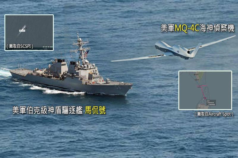 美軍1架MQ-4C海神偵察機3日飛越台灣南方巴士海峽,而美國軍艦也在拜登上任2週後,今年首次航經台灣海峽,伯克級神盾驅逐艦「馬侃號」(USS John S. McCain DDG-56)4日航行台海,該軍艦的衛星照也被曝光。(本報合成)