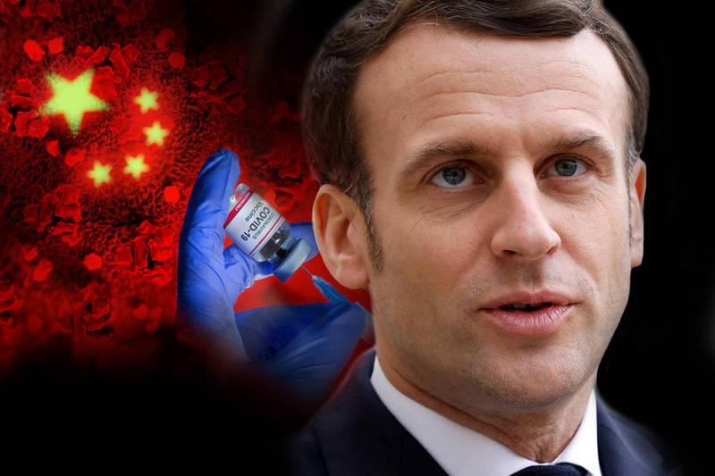 法國總統馬克宏,中國疫苗缺乏相關數據,恐怕會引發病毒變異。(本報合成)
