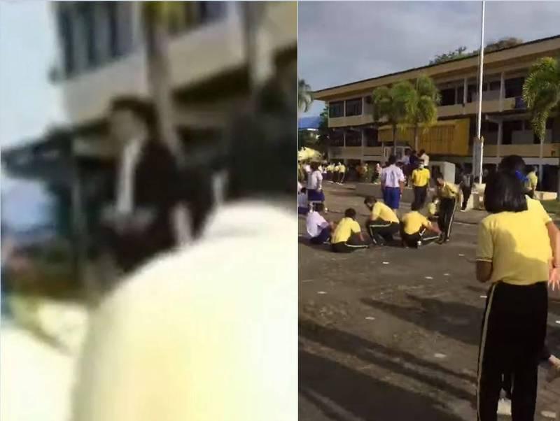 校長查利普霍爾在朝會中的升旗典禮掏槍,全校師生立刻鳥獸散。(圖片擷取自臉書/รถยกยกรถ เทพา)