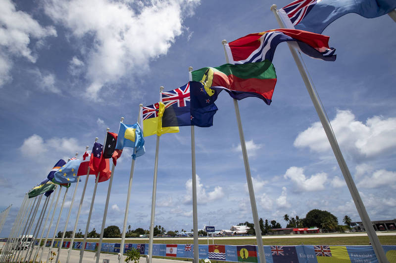 Palau said today that as the new secretary-general of the Pacific Islands Forum does not conform to practice, it will withdraw from the organization. The picture shows the flags of the member countries of the Pacific Islands Forum.  (Associated Press information photo)