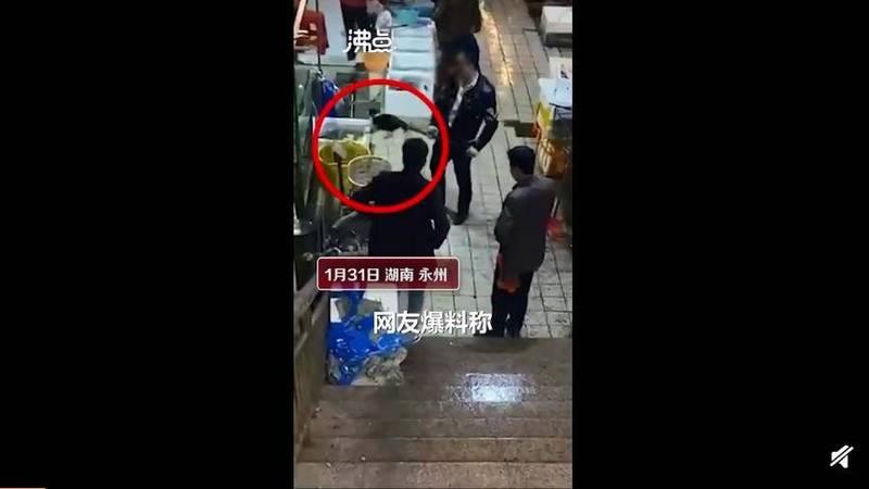 網友直言,宰殺現場相當殘忍,店家用大鐵夾將貓夾出來以後,就拿根棍子將頭骨敲碎。(圖擷取自微博)