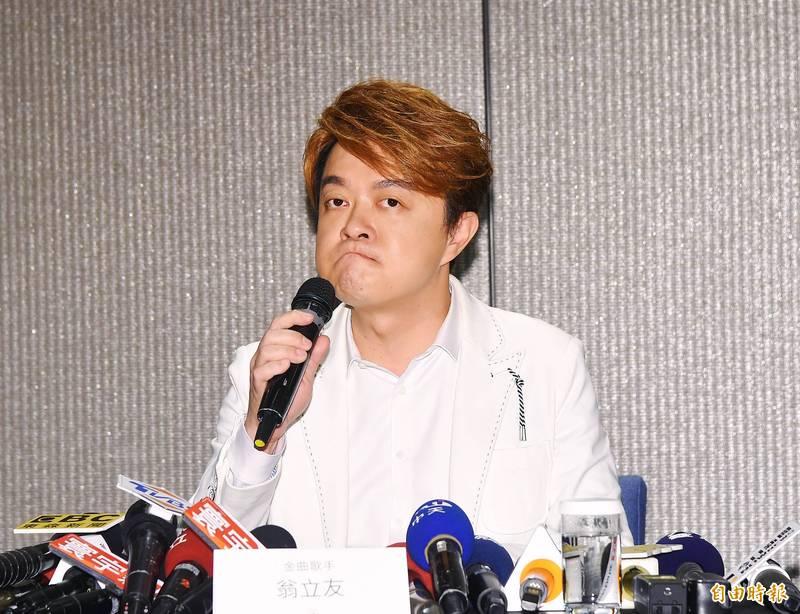 台語歌王翁立友今下午舉辦記者會。(記者王文麟攝)