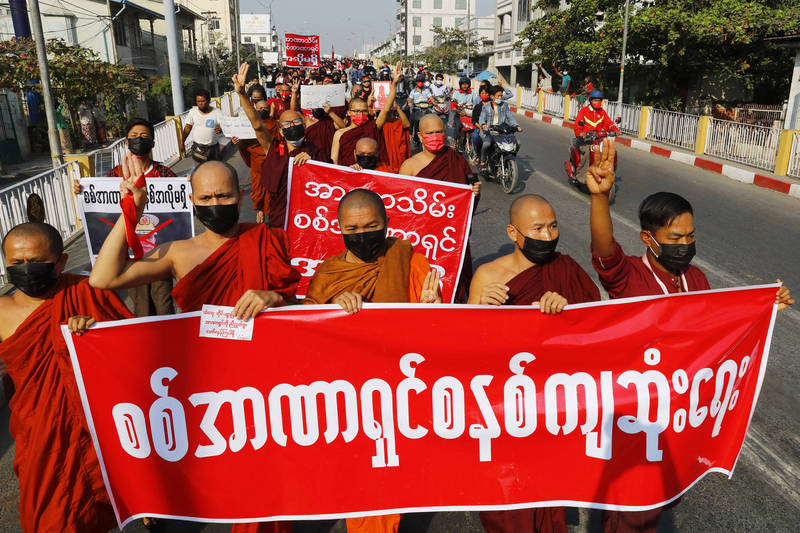 Burmese monks also participated in demonstrations in Yangon, Mandalay and other places today.  (Associated Press)