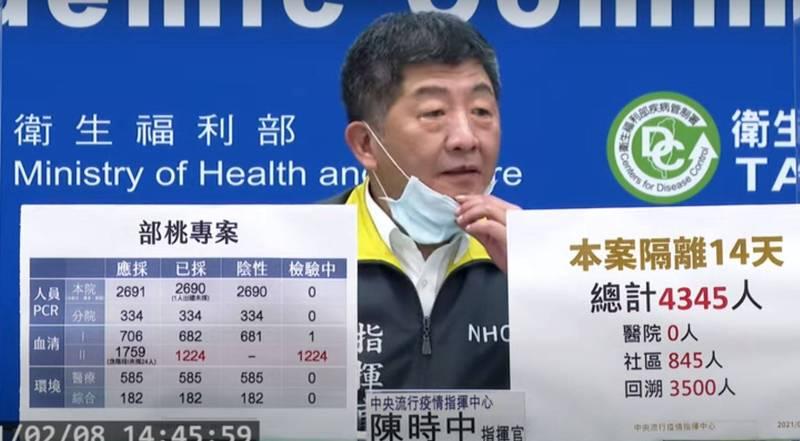 今(8)日指揮官陳時中在記者會的最後短暫拉下口罩,被眼尖的台大醫院醫師施景中發現,似乎長唇皰疹。(擷取自中央流行疫情指揮中心記者會影片)