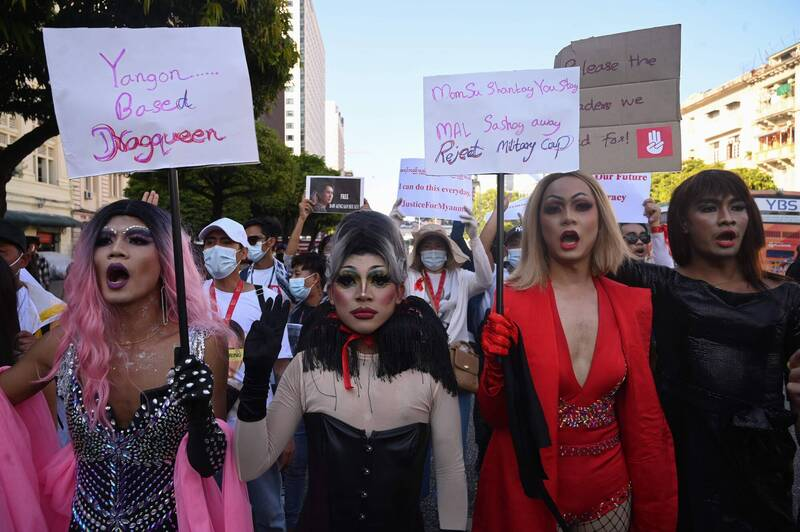 The LGBTQ community also took to the streets to protest.  (AFP)