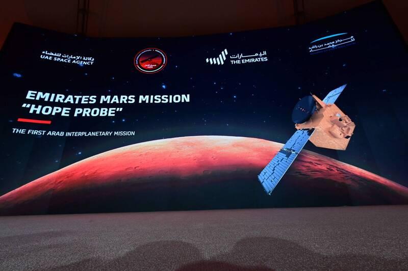 阿拉伯联合大公国的火星探测器「希望号」闯过「恐怖27分钟」,顺利进入火星轨道。(法新社)(photo:LTN)