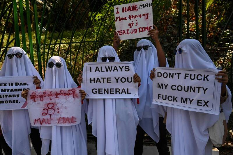 Many demonstrators took to the streets wearing eye-catching clothing.  (AFP)