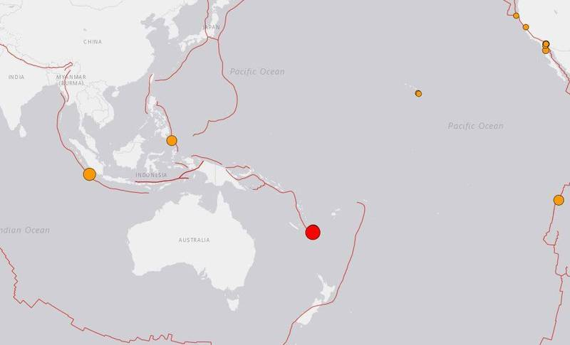 A 7.7 earthquake occurred in the Loyalty Islands in Oceania.  (The picture is taken from USGS)