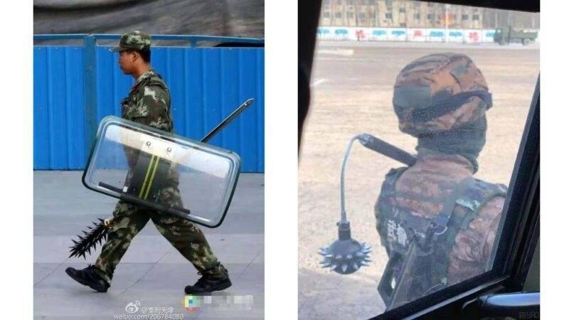 在暴力镇压人民发挥重要作用的中国武警部队,也拿起狼牙棒、流星锤进行操练,相关照片在网路疯传,网友直唿太恐怖。(翻摄自微博)(photo:LTN)