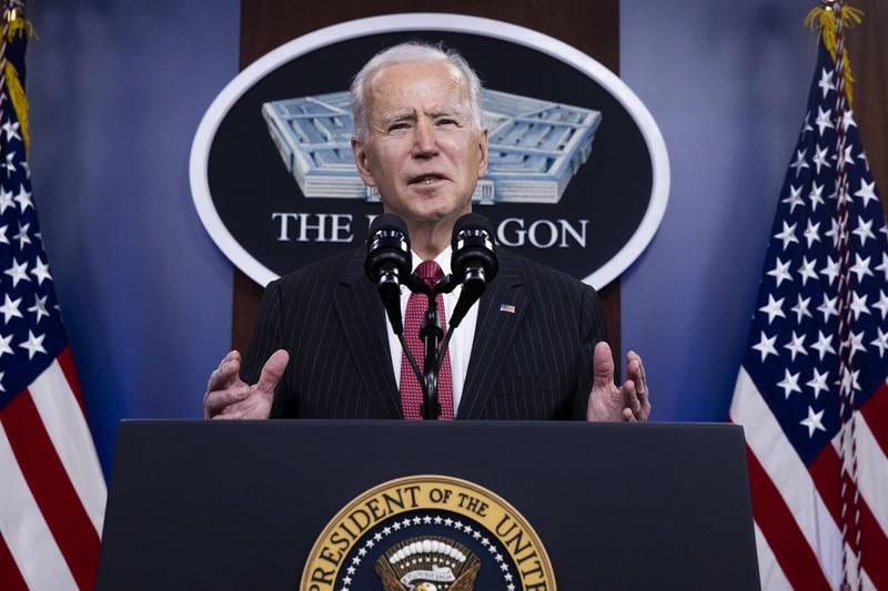 美国总统拜登(Joe Biden)10日视察五角大厦并发表讲话。(彭博)(photo:LTN)