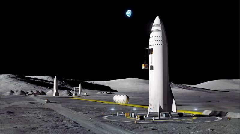 馬斯克除了移民火星,也有載人重返月球的計畫。圖為「太空探索科技公司」(SpaceX)對其火星任務的想像圖。(美聯社)