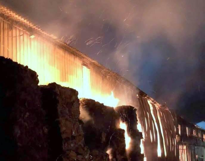 南投縣竹山鎮1家造紙工廠發生火警,夜空竄出熊熊火光,相當驚人。(南投縣消防局提供)