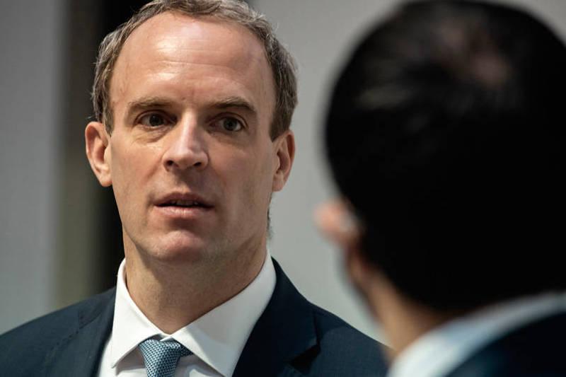 英國外交大臣拉布針對中國禁播BBC世界新聞頻道發表評論。(歐新社)
