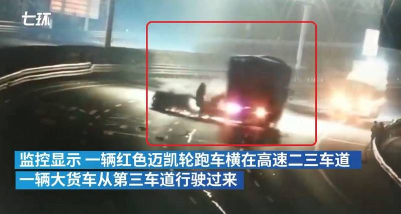中國男子租來一輛價值1300萬的麥拉倫跑車,失控自撞護欄拋錨後,又慘遭後方煞車不及大貨車再次撞擊(紅框處)。(圖翻攝自微博)
