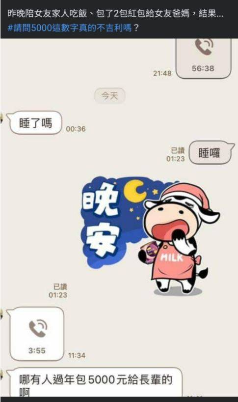 一名網友新年包5000元紅包給女友的父母,卻被罵不吉利,讓他十分不解。(圖擷取自爆怨2公社)