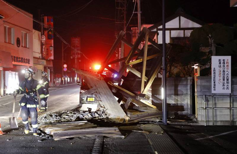 日本東北13日深夜發生規模7.3強震,雖然未造成重大災情,卻勾起10年前世紀大震的恐怖回憶。(美聯社)
