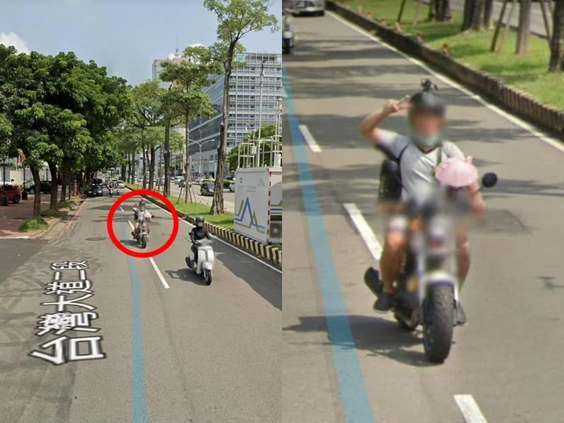 網友趁著「Google街景車」在街道上取景時,藉機「自拍」留念。(圖取自臉書社團「爆廢公社二館」,本報後製)